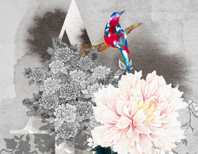 A bird, a peony, and cherry blossoms 2012
