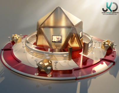Red & Gold - CGI Exhibition Stand Concept Design by JKD