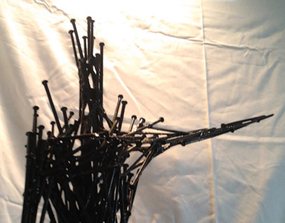 "Steel nails sculptures - "" The answers """