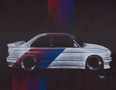 BMW E30 M3 Pastel Illustration
