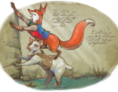 The Fox & the Goat. Childrens Book Illustrations