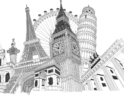 European landmark illustration