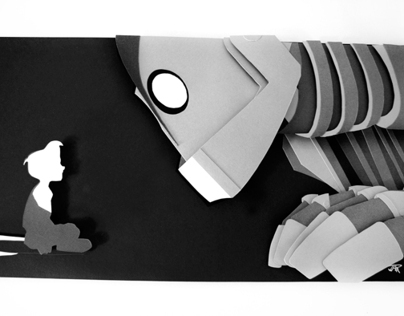 Iron Giant and Hogarth - hand cut 3D papercraft
