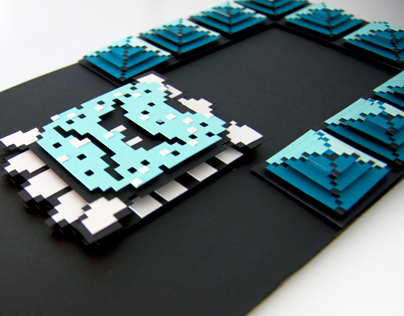 THWOMP - Super Mario 3 - 8bit hand cut 3D paper craft