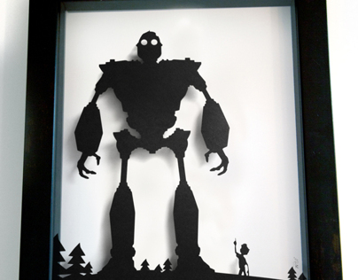 Iron Giant & Hogarth 3D silhouette handcut papercraft