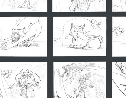 The Artist and his cat: 60 second animation storyboard