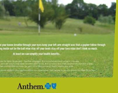 Golf program ad for Anthem Blue Cross and Blue Shield