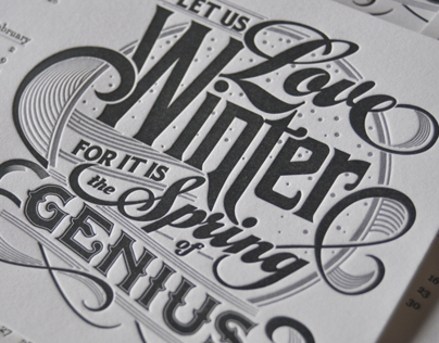 Winter Letterpress Calendar Card