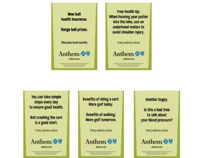 GPS golf cart ads for Anthem Blue Cross