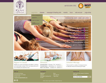 RYAH Yoga & Health Interface Design