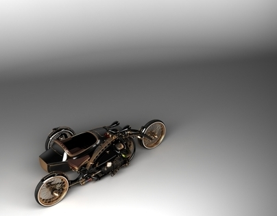 Steampunk Chopper with sidecar