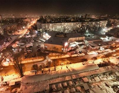 Winter Chisinau at night.
