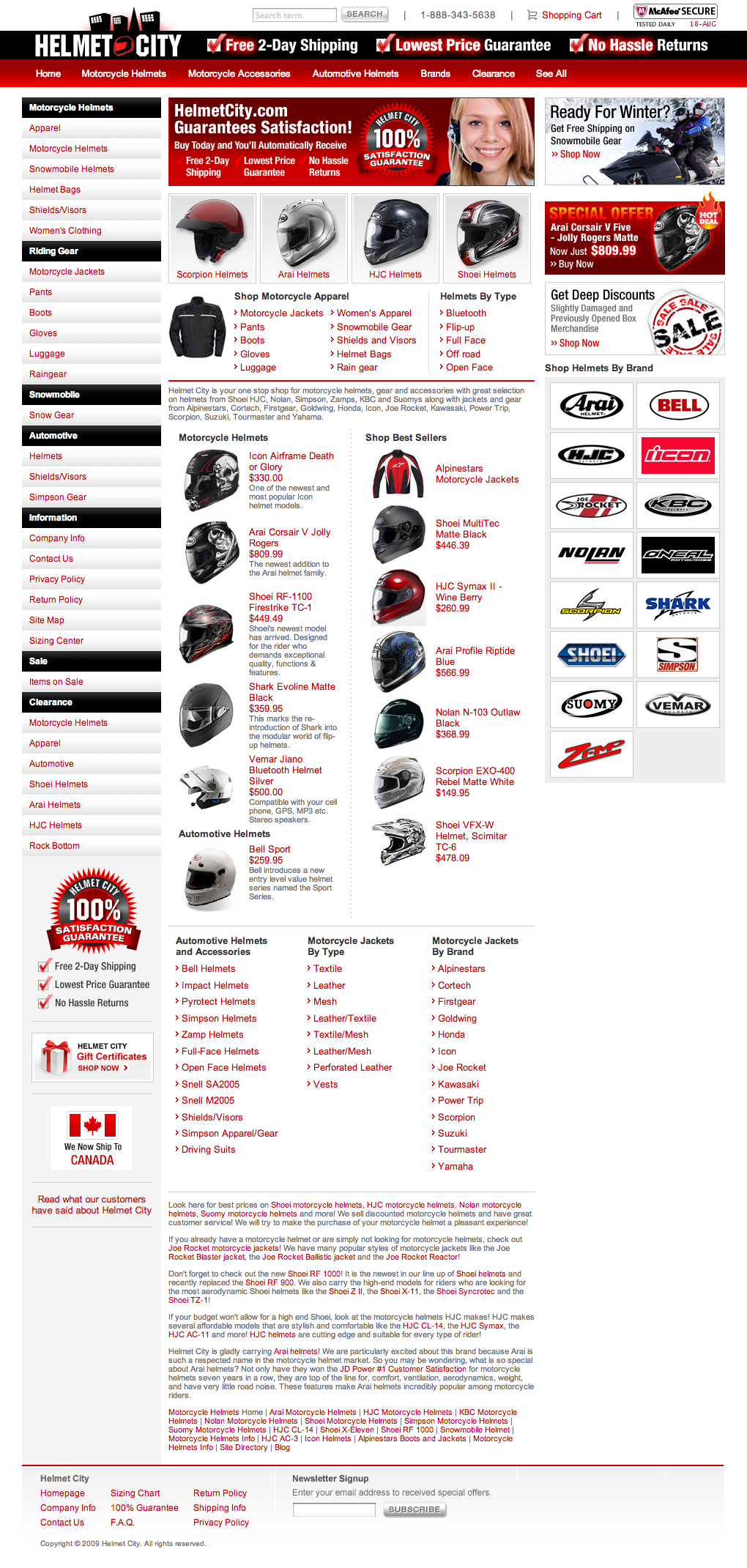 HelmetCity.com Ecommerce Website Redesign