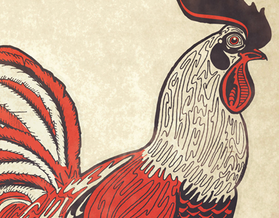 Little Red Rooster Illustration