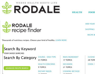 Rodale.com Recipe Finder + Promotions