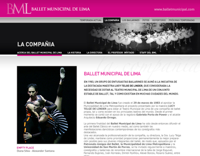 Website Ballet Municipal de Lima
