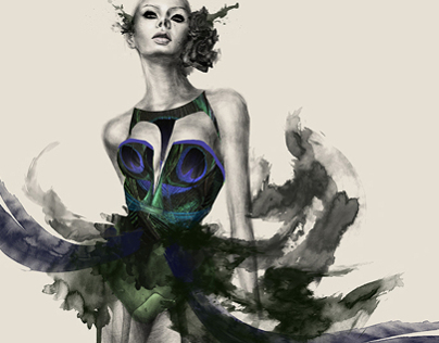 Fashion Illustration - Peacock