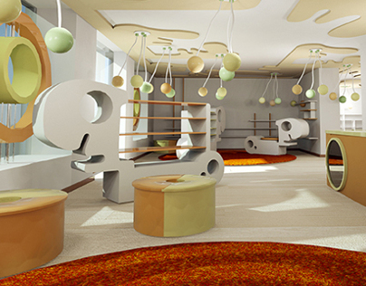 interior design of childrens shoes shop