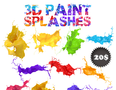 3D paint splash mega pack