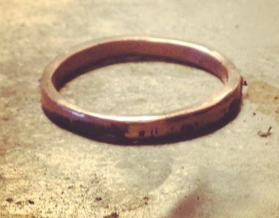 Custom 14k rose gold wedding band, 2012.