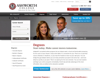 Ashworth College | Education Website UI/UX