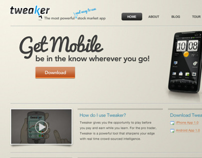 Tweaker Website & Mobile App UI