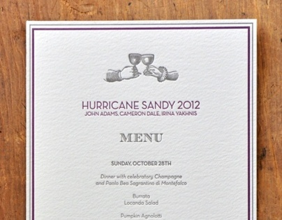 Hurricane Sandy Menu