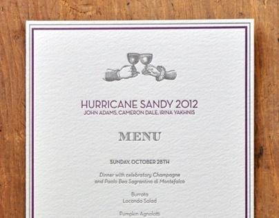Hurricane Sandy Menu