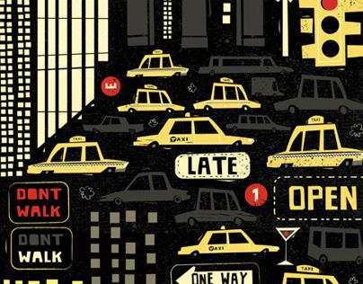 New York. Illustrated Wrap.