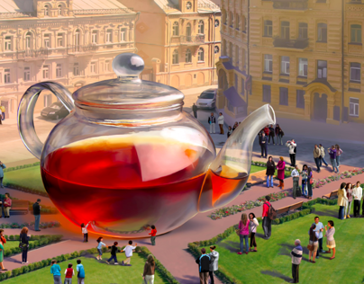 The huge tea pot