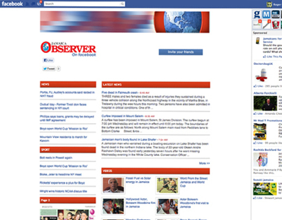 Jamaica Observer Facebook Application Design