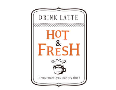 "NAME CARD "" Drink latte hot & fresh """