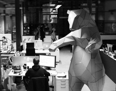 OFFICE BEAR CREATION large papercraft installation