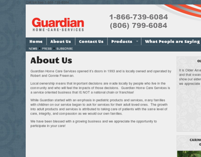 Guardian Home Care Services Website (2011)