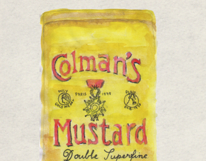 Colman's mustard watercolor