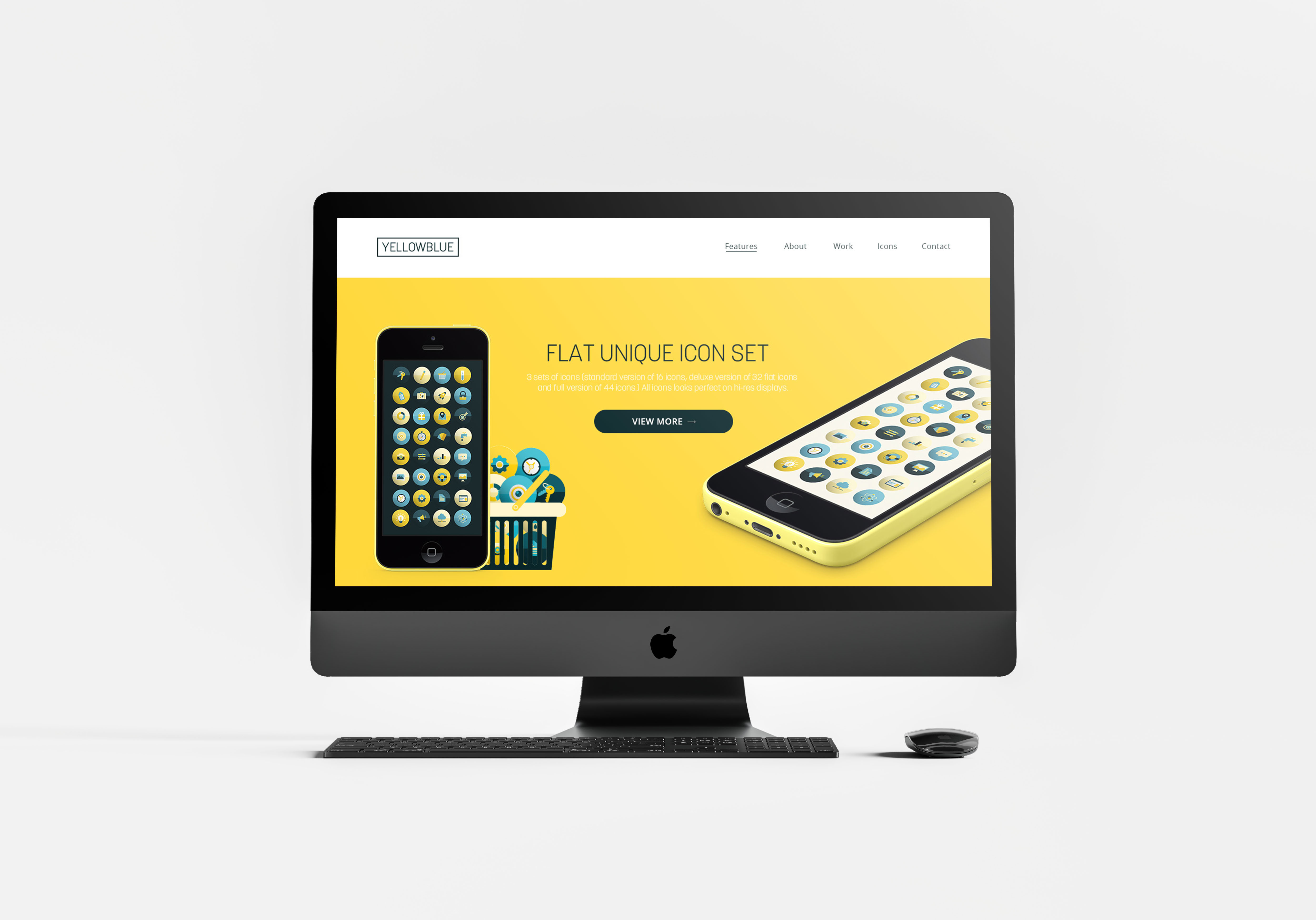 YellowBlue / Flat Icon Set + Landing page