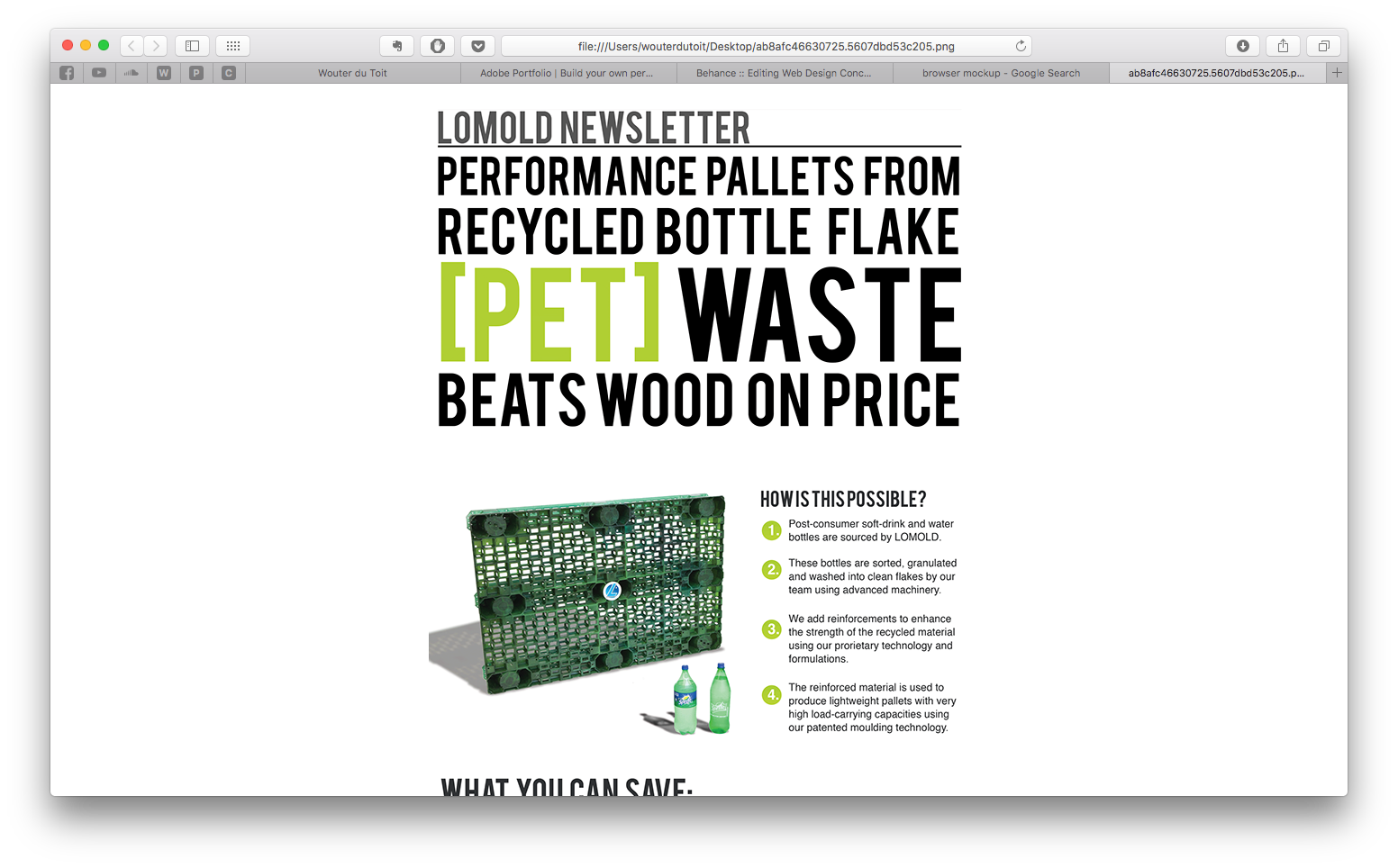 100% PET Plastic recycled Pallet Newsletter