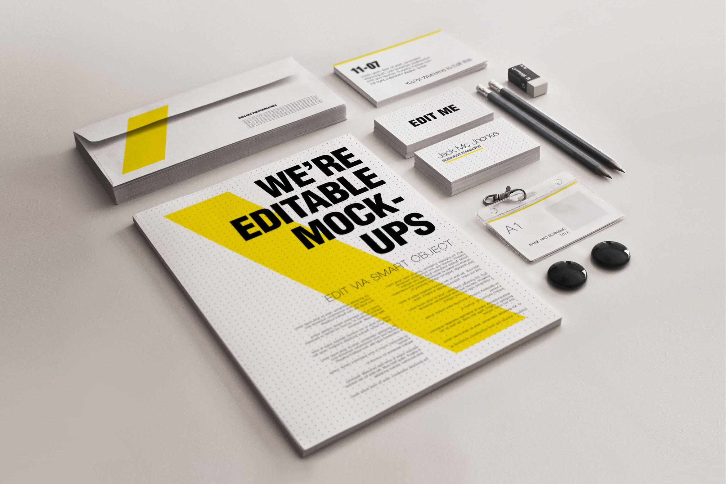 Realistic Stationery Mockups V3 Corporate ID templates