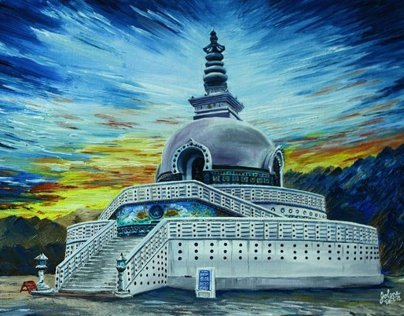 Stupa at Leh in oils