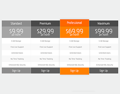 Free Pricing Table (PSD)