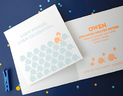 Letterpress Printed Birth Announcement