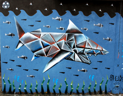 Origami Shark - Underwater Wall with Mudrok