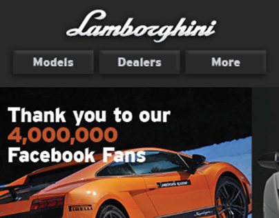 Lamborghini Mobile Site Design