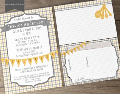 Bridal Shower Printable Invites and Recipe Cards