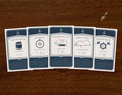Nautical Cocktail Recipe Cards