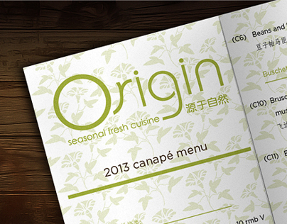 canape menu for Origin cafe