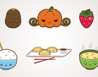 Cute Food Illustration Set