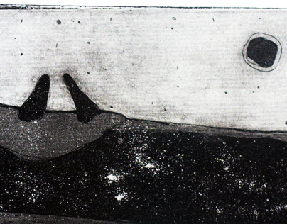 Etching, aquatint In the boat