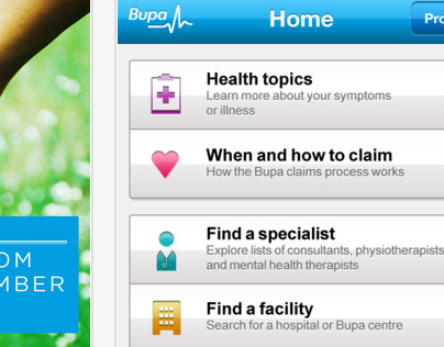 BUPA - iPhone app, copy