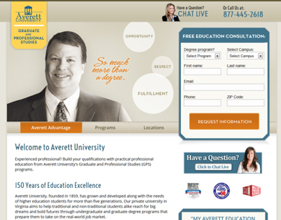 Averett University GPS Landing page